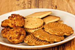 Variety of  cookies on plate Royalty Free Stock Images