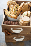 Variety of cookies in a wooden box Royalty Free Stock Image
