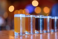 Variety of beer samples lined up for a tasting. Variety of craft beers lined up for a tasting - beer flight Stock Photo