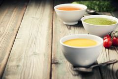 Variety of cream soups Royalty Free Stock Photos