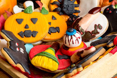 Variety of creative homemade cookies for halloween Royalty Free Stock Photos