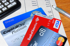 Variety of Credit and Debit Cards Royalty Free Stock Images