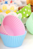 Variety of cupcake liners Stock Photos