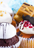 Variety of cupcakes. Collection of fancy cupcakes in many different flavors and frostings- chocolate mint, german chocolate, carrot cake, lemon, vanilla, red Stock Image