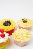 Variety of cupcakes with decorative techniques. Variety of vanilla cupcakes with various buttercream decorations on light background Royalty Free Stock Photo