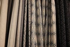 Variety of curtains. For sale Stock Photo