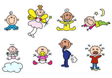 Variety cute stick baby figures Stock Photography