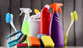 Variety of detergent bottles and chemical cleaning supplies Stock Photography