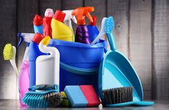 Variety of detergent bottles and chemical cleaning supplies Stock Images