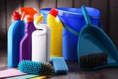 Variety of detergent bottles and chemical cleaning supplies Royalty Free Stock Image