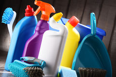 Variety of detergent bottles and chemical cleaning supplies Royalty Free Stock Photos