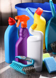 Variety of detergent bottles and chemical cleaning supplies Stock Image