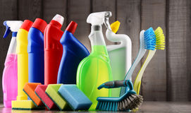 Variety of detergent bottles and chemical cleaning supplies Stock Photos