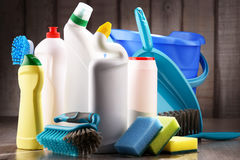 Variety of detergent bottles and chemical cleaning supplies Royalty Free Stock Images