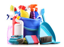 Variety of detergent bottles and chemical cleaning supplies Royalty Free Stock Photo