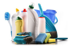 Variety of detergent bottles and chemical cleaning supplies Royalty Free Stock Photography