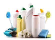 Variety of detergent bottles and chemical cleaning supplies Stock Photo