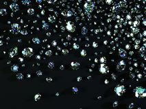 Variety of diamonds on black background Stock Images