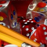 Dice and Pencils royalty free stock photos