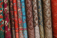 A variety of different bolts of brocade fabric Royalty Free Stock Image