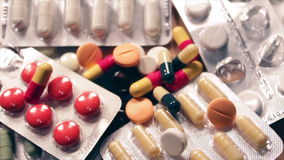 Variety of different drugs and pills stock video