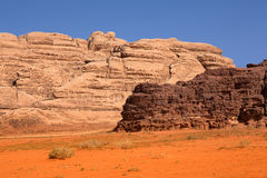 A variety of different rock colors in Wadi Rum desert Royalty Free Stock Images
