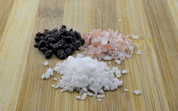 Variety of Different Sea Salts, Black and Red Hawaiian, Gray Celtic, Pink Himalayan, 2017 Stock Photo