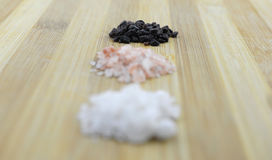 Variety of Different Sea Salts, Black and Red Hawaiian, Gray Celtic, Pink Himalayan, 2017 Royalty Free Stock Images