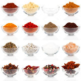 Spices. Variety of different spices in glass bowls for seasoning, isolated on white background Royalty Free Stock Image