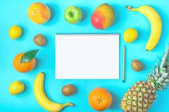 Variety of Different Tropical and Seasonal Summer Fruits. Pineapple Mango Coconut Citrus Oranges Lemons Apple Kiwi Bananas Notepad. Variety of Different Tropical royalty free stock images