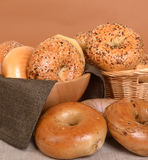 Variety of different types of bagels Stock Photography