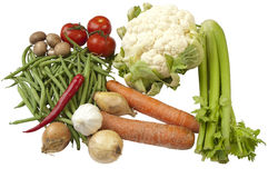 Variety of different vegetables. A variety of all kinds of vegetables like tomatoes, onions, garlic, carrots, celery,cauliflower, green beans, pepper and Royalty Free Stock Images