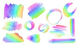 Collection and variety of different watercolor brush strokes in a rainbow spectrum Royalty Free Stock Image