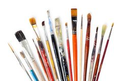 Variety of dirty and clean brushes Royalty Free Stock Image