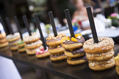 Variety donut in coffee shop Royalty Free Stock Images