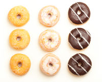 Variety of donuts, high angle view from above Royalty Free Stock Images