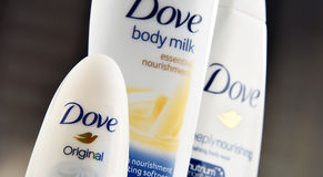 Variety of Dove products including body milk and anti-perspirant stock images
