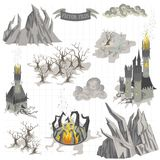 Fantasy Adventure map elements and colorful doodle hand draw in illustration isolated on white background. Variety of drawing details that are ideal for any royalty free illustration