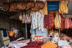 Variety of dried food in dry fish shop, large dry fish, smoked fish, shrimp, sausage and other dried food. Phsa Thmei Market,. Phnom Penh City. This market is a stock images