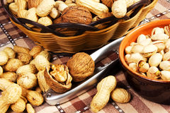 Variety of dried fruit. In basket on the table Stock Photos