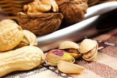 Variety of dried fruit. In basket on the table Stock Photo