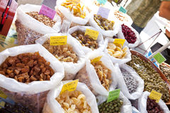 Variety of dried fruits on display in store Stock Photography