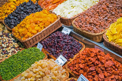 Variety of dried fruits at a market Stock Photography