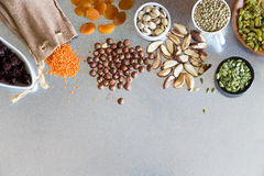 Variety, dried fruits, nuts and grains Stock Photography