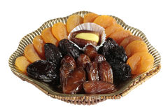 Variety of dried fruits on white background Royalty Free Stock Image