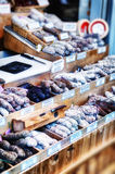 Variety of dried sausages Royalty Free Stock Photography