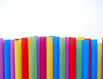 Variety of drinking straws on white paper Royalty Free Stock Photos