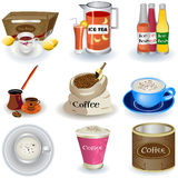 Variety Of Drinks. Vector illustration of different non-alcoholic beverages and related icons Stock Photography