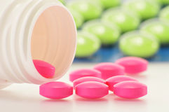 Variety of drug pills and dietary supplements Stock Photos