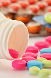 Variety of drug pills and dietary supplements. Composition with variety of drug pills and dietary supplements royalty free stock photos